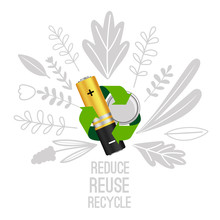 Battery Reuse And Recycle. Electronic Equipment Batteries Recycling Concept, Electronics Waste Reduce Vector Illustration