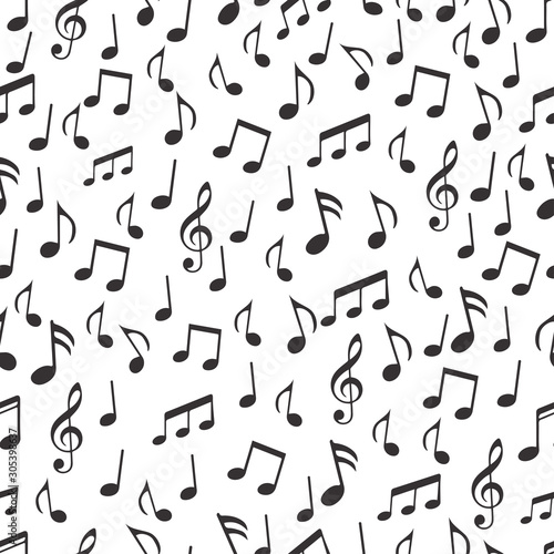 Obraz na plátně  Musical notes, melodious signs and symbols seamless pattern