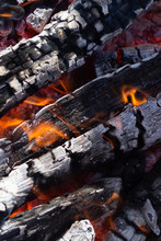Fire Woods And Hot Coal In A Grill. Background