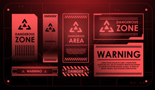Elements Of HUD Interface With Attention Sign. Warning. Conceptual Layout With HUD Elements For Print And Web.
