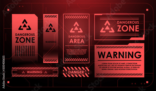 Leinwand Poster Elements of HUD interface with attention sign