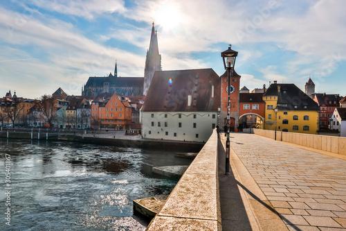 regensburg historic city in bavaria germany Canvas Print