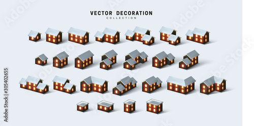 Fotografie, Obraz Set of isometric two and one-story houses, cottages and buildings