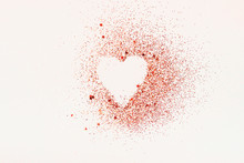 Red Glitter Heart On A White Background