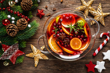 Christmas Mulled Wine Punch. Festive Red Hot Toddy Cocktail, Drink With Cranberries And Citrus Fruits