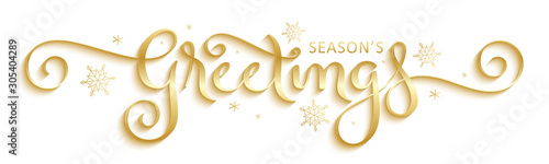 SEASON'S GREETINGS metallic gold vector brush calligraphy with flourishes - 305404289