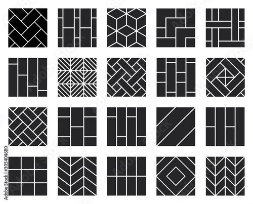 Obraz Parquet floor black vector illustration on white background .Wood floor set icon.Vector illustration icon parquet of hardwood for room. - fototapety do salonu