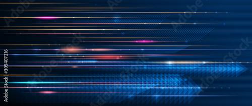 Canvastavla Illustration of light ray, stripe line with blue light, speed motion background