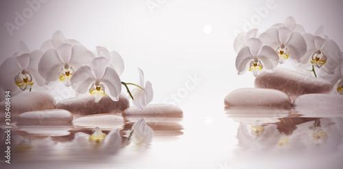 Photo spa de piedras sobre agua y flores orquídeas