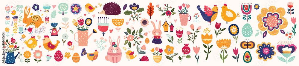 Fototapeta Big collection of flowers, leaves, birds, bunny and spring symbols - obraz na płótnie