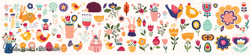 Foto Big collection of flowers, leaves, birds, bunny and spring symbols