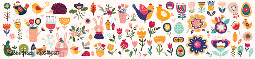 Big collection of flowers, leaves, birds, bunny and spring symbols