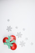 New Year 2020. Snowflakes. White background. Merry Christmas. Cones and decorations for the Christmas tree. Hand painted decorations
