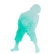 vector, on a white background, green watercolor silhouette of a child, a boy dancing
