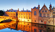 canvas print picture - Belgium - Historical centre of  Bruges river view. Old Brugge buildings reflecting in water canal.