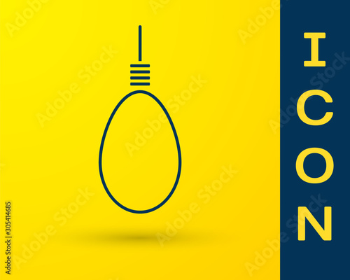 Fototapeta  Blue Gallows rope loop hanging icon isolated on yellow background