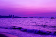 canvas print picture - Beautiful landscape beach and sea and purple sky at the sunset, twilight period which including of sunrise