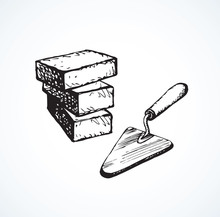 Trowel And Bricks. Vector Drawing
