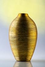 Golden Vase Decoration On Isolated Gradient Background