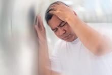 Sick Asian Senior Man Suffering From Vertigo Headache; Mental Sickness Concept For Vertigo, Dizziness, Stress, Depression, Burnout, Alzheimer, Brain Cancer, Meniere Disease, Memory Loss; Old Man Model