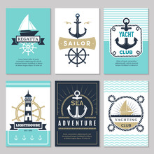 Nautical Cards. Marine Vintage...