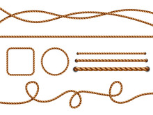 Realistic Ropes. Yellow Or Brown Curved Nautical Ropes With Knots Vector Template. Rope Curve, Boundary Reliable Loop Illustration Twisted, Brown, Cord, Twine, Decoration, Circle, Jute,
