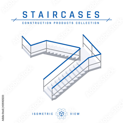 Photo Staircases with handrails, vector in flat style