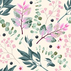 Fototapeta Do sypialni Vector seamless pattern with green and pink leaves
