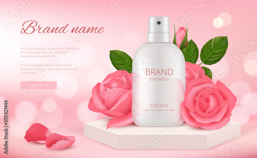 Fotobehang Vrouw gezicht Skin cosmetic ads. Woman cream or perfume bottle with rose pink flowers and petals beauty romantic decoration realistic template. Advertising beauty, cosmetic cream care banner illustration