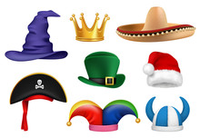 Carnival Hats. Masquerade Clothes Fabric Funny Hats Viking Sombrero Clown Santa Crown Party Celebration Items Vector Realistic. Masquerade Hat Carnival, Costume Party Illustration
