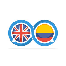 Illustrated Icons With English And Colombian Communication Concepts