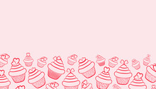 Cupcakes With Cream And Hearts. Festive Background For Valentine's Day. Cupcake Outline  With Hearts On A Pink Background. Horizontal Format. There Is A Place For Text. Design Element. Vector Illustr