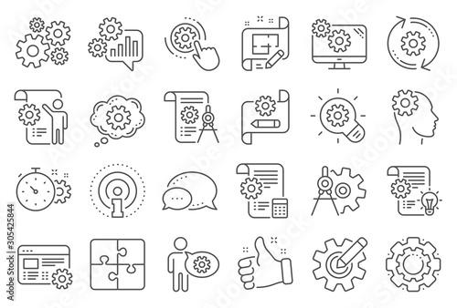 Engineering line icons Fototapeta