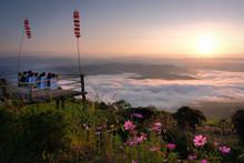 Oct 10, 2019 , The Tourist  Sitting On Terrace With Sunrise And Mist At Mon Kieng Dao - Sri Nan National Park, Na Noi, Nan,Thailand.
