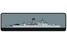 Royal Navy. County-class Guided Missile Destroyer. Side View. Vector Template For Illustration.