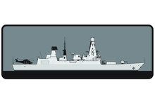 Royal Navy. Type 45 Daring Class Guided Missile Destroyer. Side View. Vector Template For Illustration.