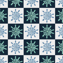 Vector Blue Green Flowers On Blue And White Squares. Background For Textiles, Cards, Manufacturing, Wallpapers, Print, Gift Wrap And Scrapbooking.