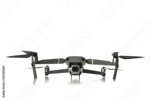 Vászonkép New drone quadcopter with digital camera isolated on white