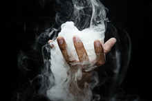 Hand Smoke From Dry Ice In A B...