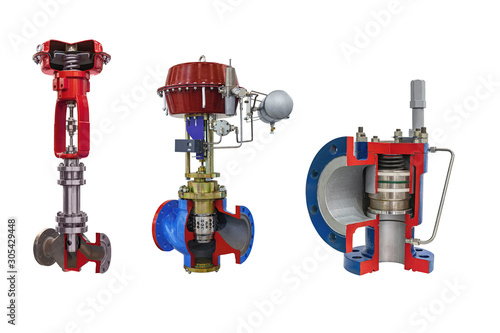 Photo three modern shut-off valves with automatic control for gas pipeline isolated on a white background