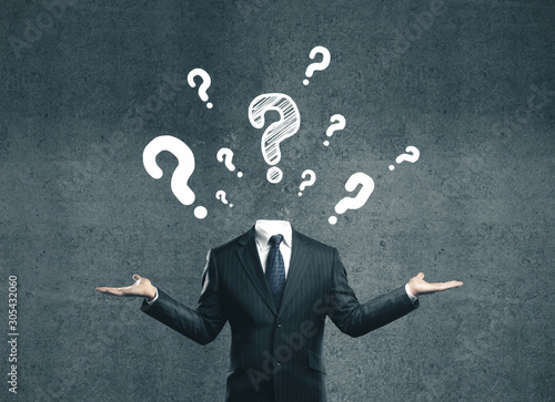 young businessman with question mark Wallpaper Mural