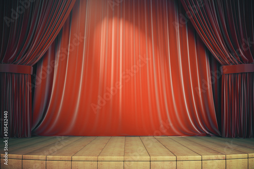 Obraz Wooden stage with red curtains - fototapety do salonu