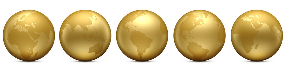 Gold Earth globe set