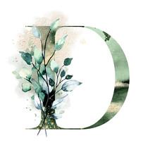 Floral Alphabet, Letter D With...