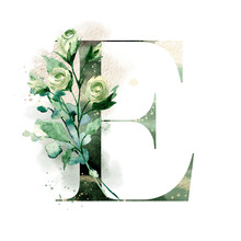 Floral Alphabet, Letter E With Watercolor Flowers, Leaf And Gold Splashes. Monogram Initials Perfectly For Design Wedding Invitations, Greeting Card, Logo. Holiday Decoration Hand Painting.