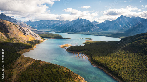 Turquoise lake in Canadian rockies at Assiniboine provincial park