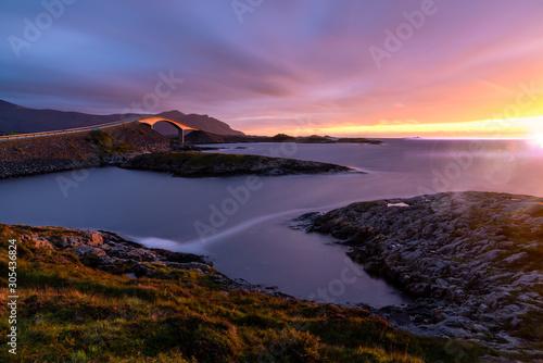 Atlantic Ocean Road Norway Purple sunset longexposure Tablou Canvas