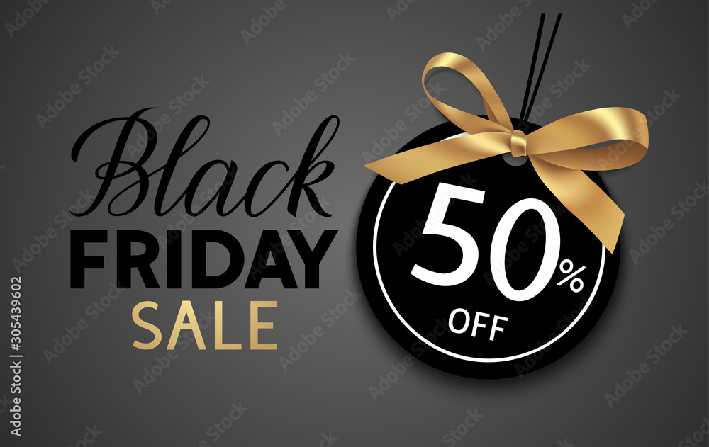 Black friday sale design template. Decorative price tag with golden bow. Vector illustration