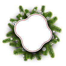 Happy New Year Rounded Greeting Card Template With Paper Snowflaker And Fir Branches.