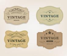 Vintage Label Banner Badges Se...